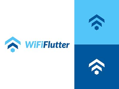 WiFi Flutter Logo Design connection signal wififlutter flutter wifi identity vector illustration utopian logo icon graphics graphic design contributor contribution branding app