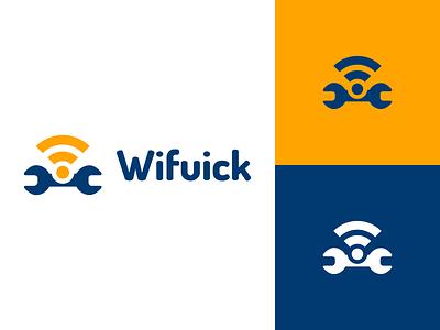 Wifuick Logo Design setting wifuick tool wifi identity illustration vector utopian logo icon graphics graphic design contributor contribution branding app