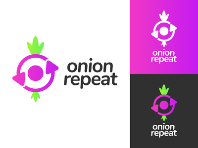 Onion Repeat Logo Design anonym anonymous plant vegetable veggie onion repeat repeat onion brand identity illustration vector logo icon graphics graphic design branding