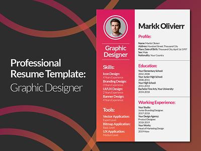 Graphic Designer Resume Design Template cv template cv design resume template resume design resume cv resume designer resume graphic designer designer graphics graphic design