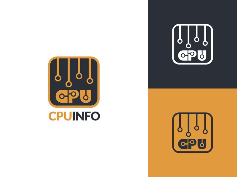 CPU Info Logo Design processor microchip chip cpu info info cpu illustration vector utopian open source logo icon identity graphic graphics design contributor contribution branding app