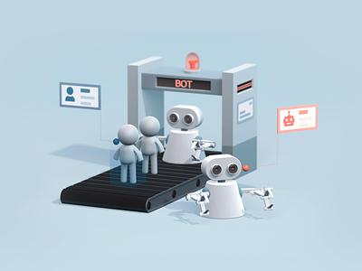 Defend Against Bots 3D people geetest robot render 3d bot c4d illustration