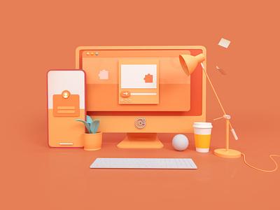 Workspace c4d cycles illustration computer blender 3d render 3d blender