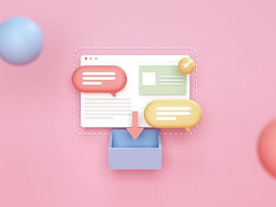 inbox box cute renders blender3d ui render c4d illustration