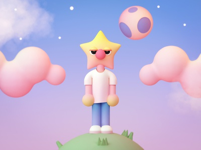 Astral by Defaced moon space character 3d render c4d illustration