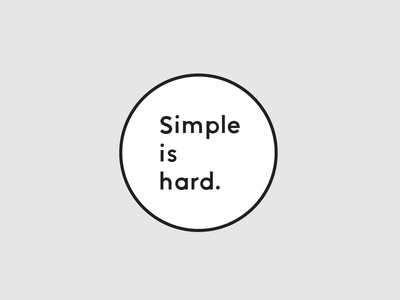 Simple is hard. quote design pin