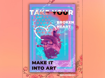 Heart Poster neon gradient heart posterart posterdesign poster shapeology shapes graphic design