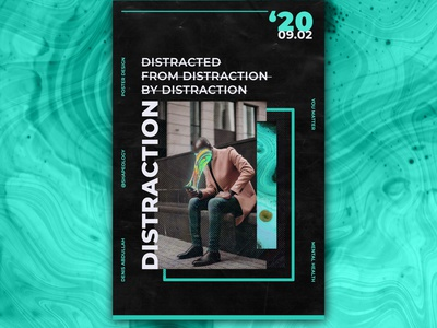 Distraction Poster electric blue social coolposterdesign colors posteraday graphicdesigner shapeology shapes graphic posterart posterdesign