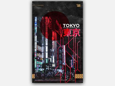 Tokyo Poster cyberpunk neon tokyo poster design posterart design poster graphic shapes shapeology