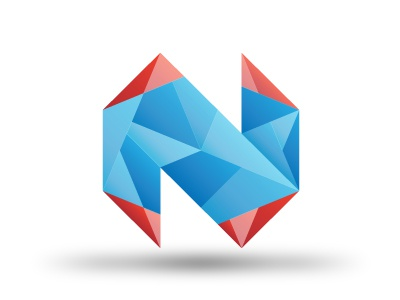 Crystalized Logo n crystal abstract identity blue red logo octagon gradient type