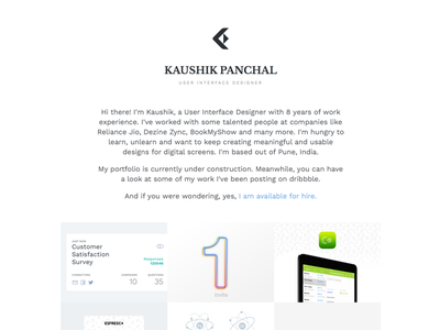 Personal portfolio using dribbble shots user interface designer website microsite branding minimalistic typography ui portfolio personal