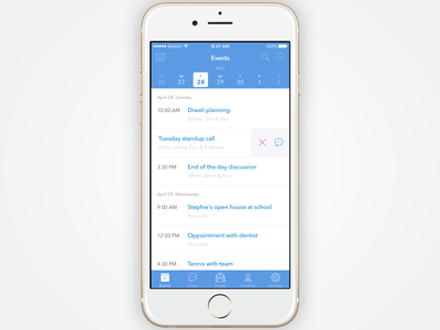 iOS app for planning, managing and organising personal events. ios