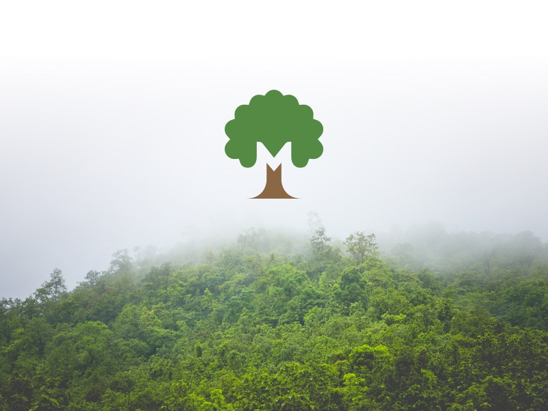 Logo design for an eco farm nature logo mark brown green tree nature eco farm m symbol icon logo