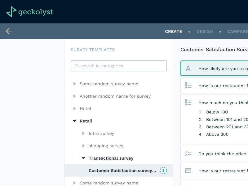 Survey Module for Geckolyst web app dashboard design ui design ux directory tree list ui web templates dashboard survey