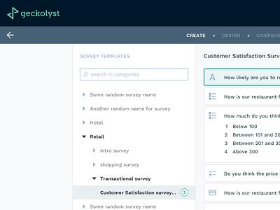 Survey Module for Geckolyst web app dashboard design ui design ux directory tree list ui web templates dashboard survey