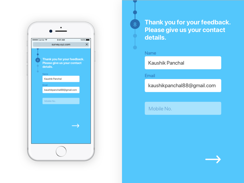 Survey In Mobile Browser by Kaushik V  Panchal on Dribbble