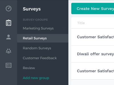Survey Navigation dark web ui nav icons menu sidebar groups navigation survey