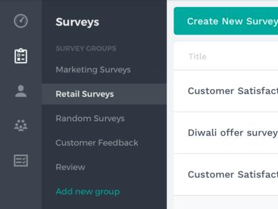 Survey Navigation dark web ui nav icons menu sidebar groups navigation survey