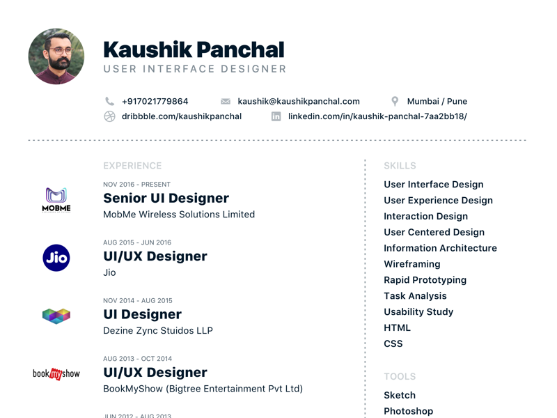 Resume User Interface Designer By Kaushik V Panchal Dribbble
