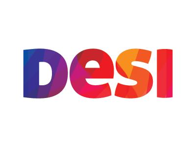Desi desi 4letter fourletter vibrant bold hot blue orange red yellow indian colorful logo concept logodeisgn
