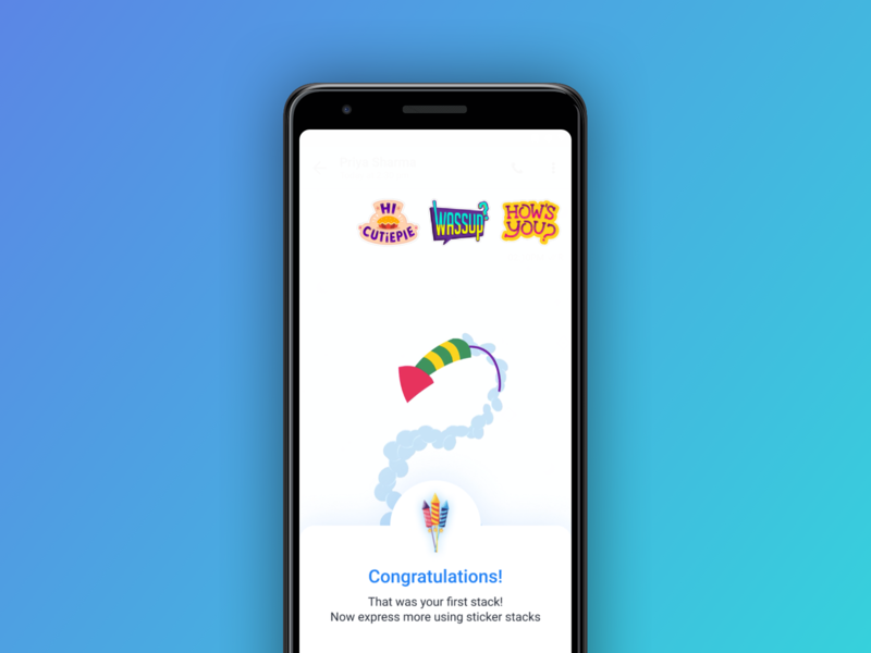 Celebrate Your First Stack animation stickers chat app principleapp principle onboarding ux design interaction ui