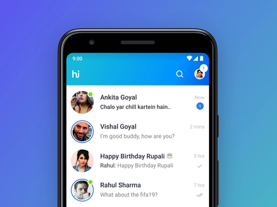 Online status and stories in chat list - exploration clean blue ui interaction animation interaction ui-ux design ux design ui design chat list stories online status