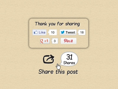 Share Counter share counter button tweet like pin g