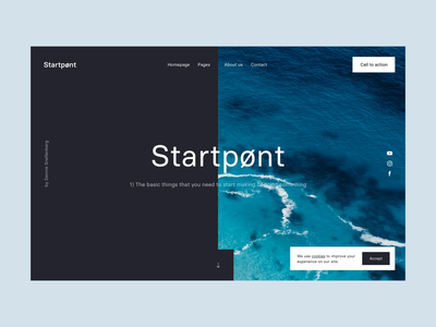 Startpønt interaction ux ui transition rotterdam principle animation homepage website ocean sea dennis snellenberg personal project starterkit interface startpunt