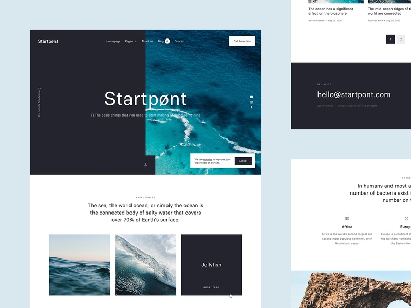 Overview - Startpønt 🌊 waves water sea ux interaction startpoint startpunt dennis snellenberg website rotterdam vector personal project ui starterkit