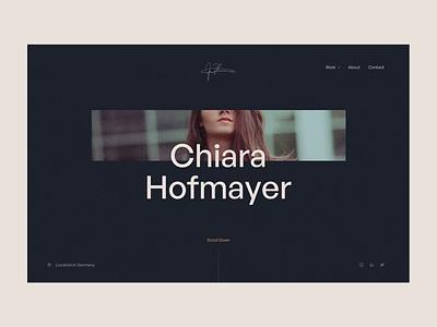 Chiara Hofmayer - Portfolio freelance parallax transition videography photography portfolio website personal website portfolio loading interface ux ui website animation rotterdam