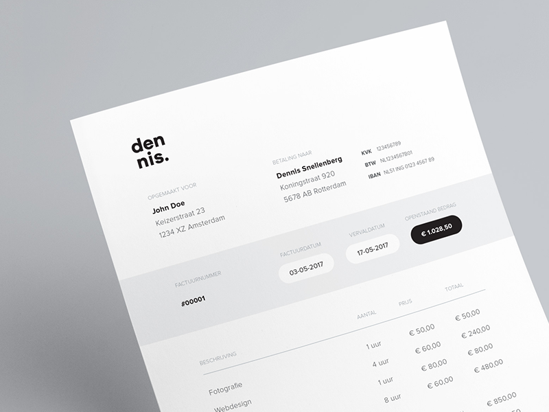 factuur office world Personal Invoice by Dennis Snellenberg | Dribbble | Dribbble