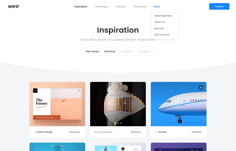 Inspiration platform home