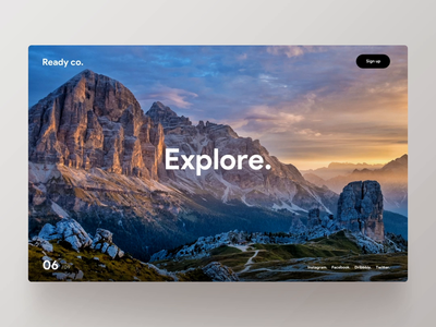 Explore. ui ux parallax scrolling explore nature dennis dennis.design rotterdam sketch principle scroll experience animation unsplash mountain paralax mountains