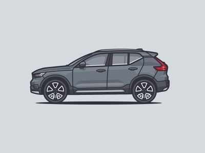 2018 Volvo XC40 wheels sideview highlights shadow vehicle vroom adobe illustrator vector car side car illustration illustration xc40 car volvo