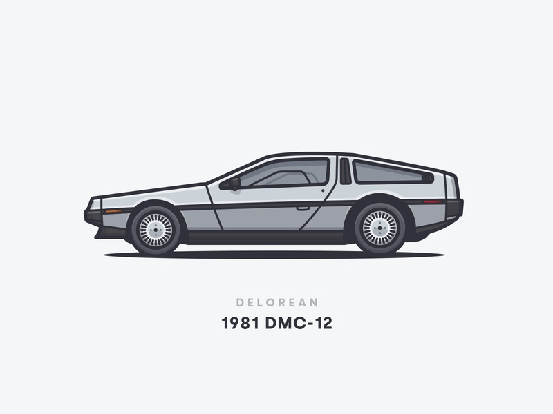 1981 Delorean DMC-12 wheels future back side rims dmc-12 delorean car illustration car 1981