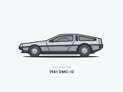 1981 Delorean DMC-12 wheels future back side rims dmc-12 delorean car illustration car 1981