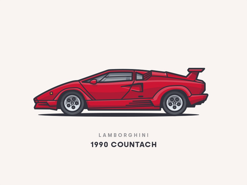 1990 Lamborghini Countach vector illustrator side rims red rotterdam car illustration car countach lamborghini lambo 1990