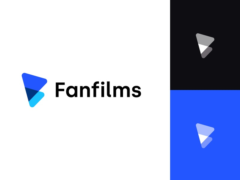Logo - Fanfilms layers logo shape letter logo fan film play logo play button f not used idendity client branding blue