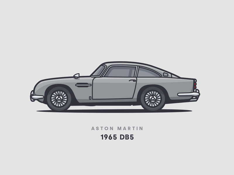1965 Aston Martin DB5 print poster wheels classic 1965 side side view illustrator vector car illustration db5 aston martin