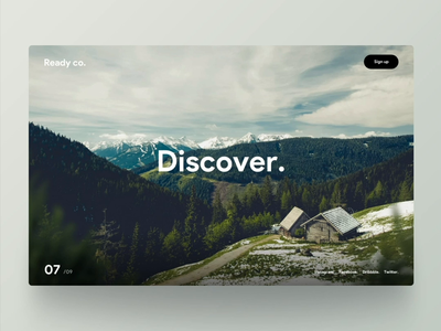 Discover. website snow trees woods cabin scroll nature dennis animation dennis.design ui ux rotterdam mountain experience parallax scrolling discover parallax