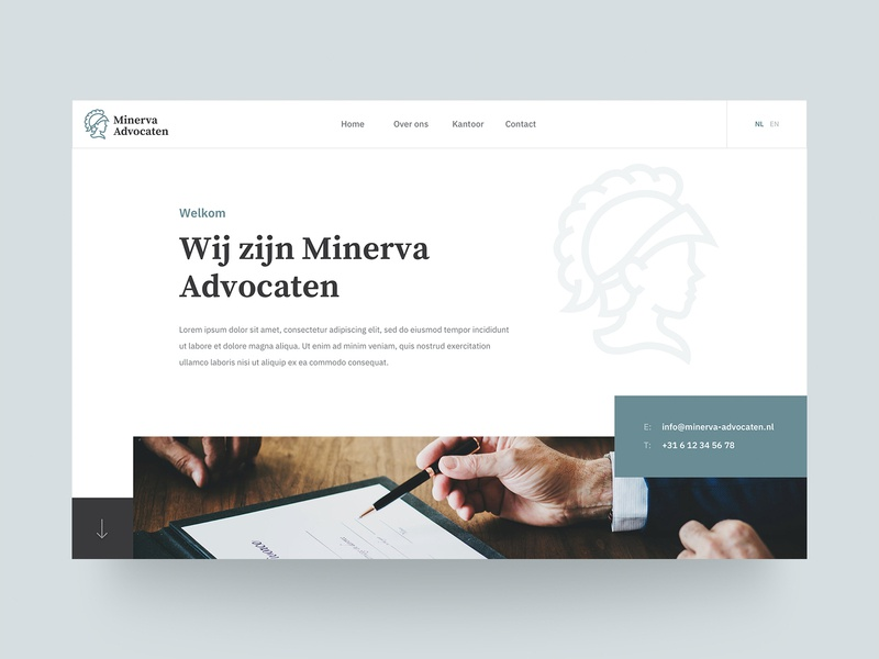 Homepage - Minerva Advocaten elegant rotterdam advocaten minerva lawyers lawyer ux ui website header homepage