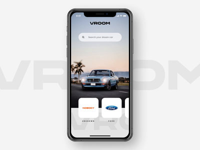 VROOM 2.0 application interface exploore interaction mustang snellenberg dennis rotterdam animation swipe cars sketch principle ui nobody ford parallax tranistion car vroom