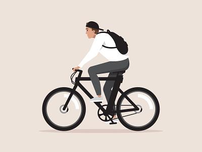 Cowboy ⚡ black wheels illustrator illustration electric self portrait riding backpack bike cowboy