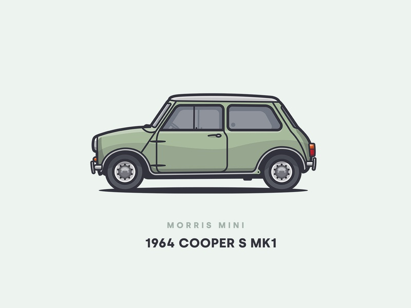 1964 Morris Mini Cooper S MK1 small green view side vector shadow car design classic mk1 morris cooper mini