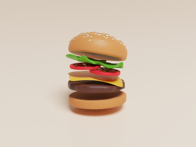 Burger practice depth movement seeds hamburger blender3d b3d 3d blender