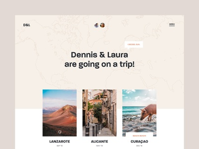 D&L - Homepage dennis snellenberg trip curacao alicante lanzarote trips inspiration vacation holiday interface grid ui homepage personal project