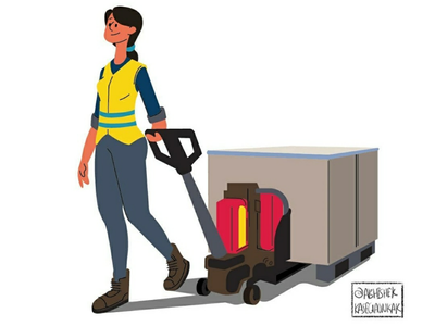Logistics drawing digital sketching cartoon illustration shipping womens shipment service delivery women logistics cargo