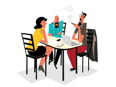 Discussion vector motiongraphics illustration animator motion instragram dribbble man girl illustrator restaurant meeting talking chat discussion people