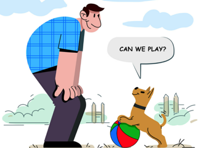 A man's best friend playing love men illustrations illustrator cartoon graphics pet dog love dog