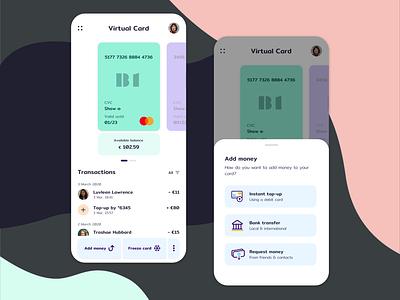 Card management app app design ui card ui finance app virtual card